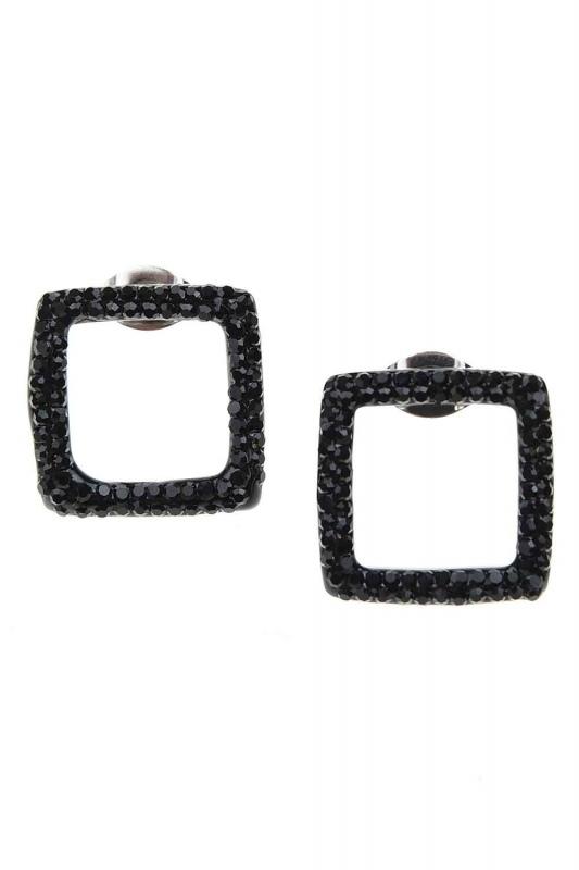 Square Form Steel Earrings (St)