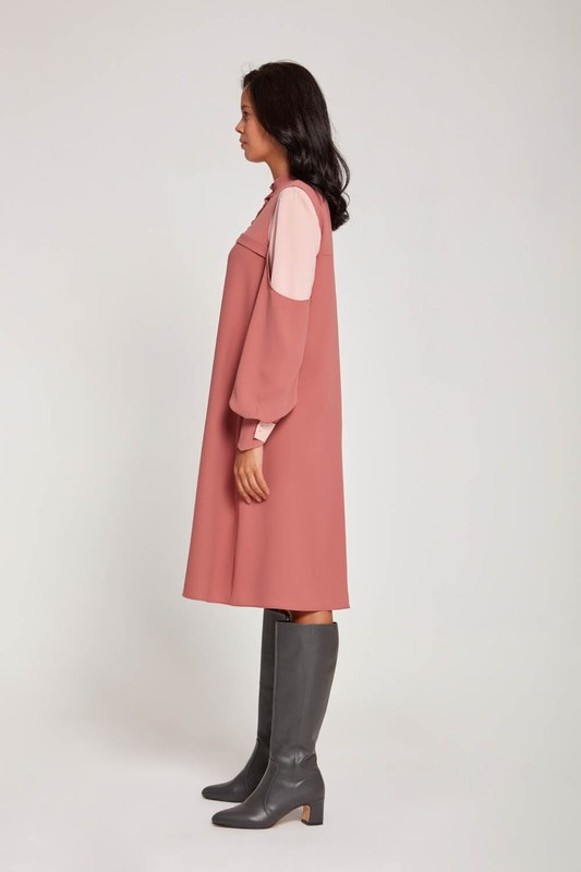 Sleeve Detail Tunic Dress (Rose)