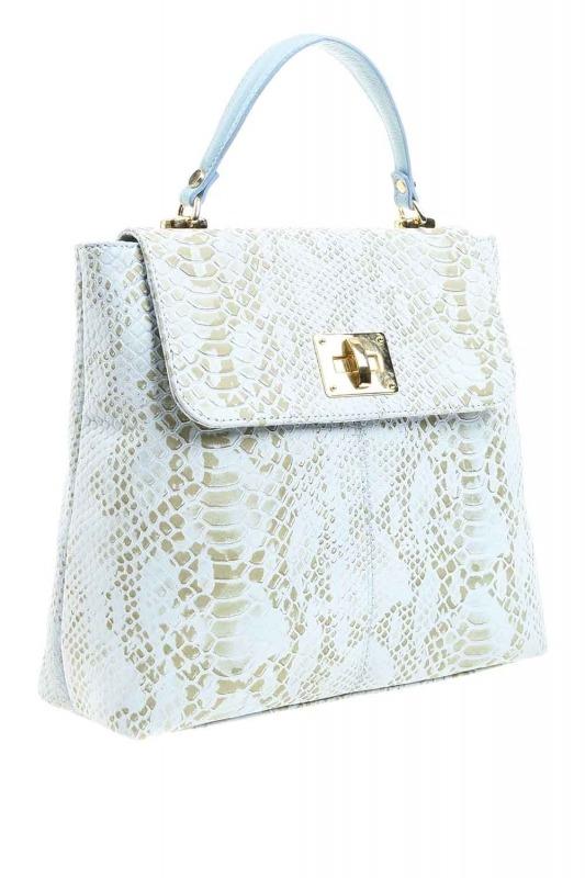 حقيبة جلد ثعبان منقوشة (أزرق)