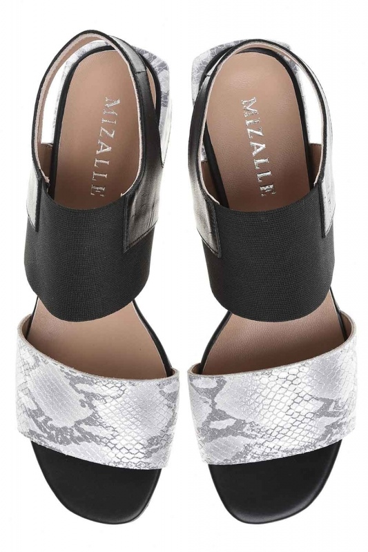 Snake Patterned Leather Shoes (Grey)