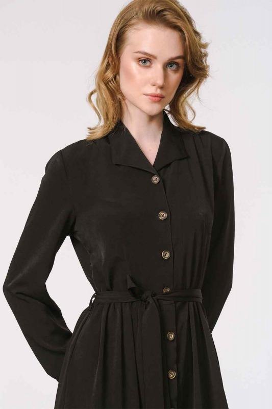فستان ناعم مع تصميم مطبوع (أسود)