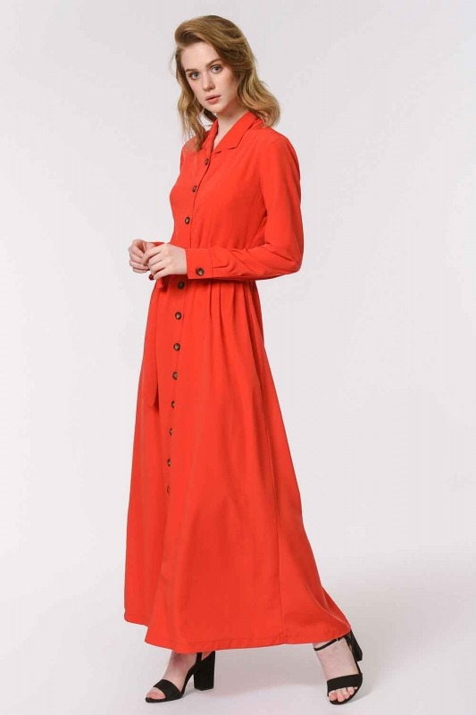 فستان ناعم مع تصميم مطبوع (أحمر)