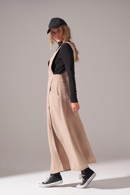 Soft Dokulu Jile Elbise (Bej) - Thumbnail
