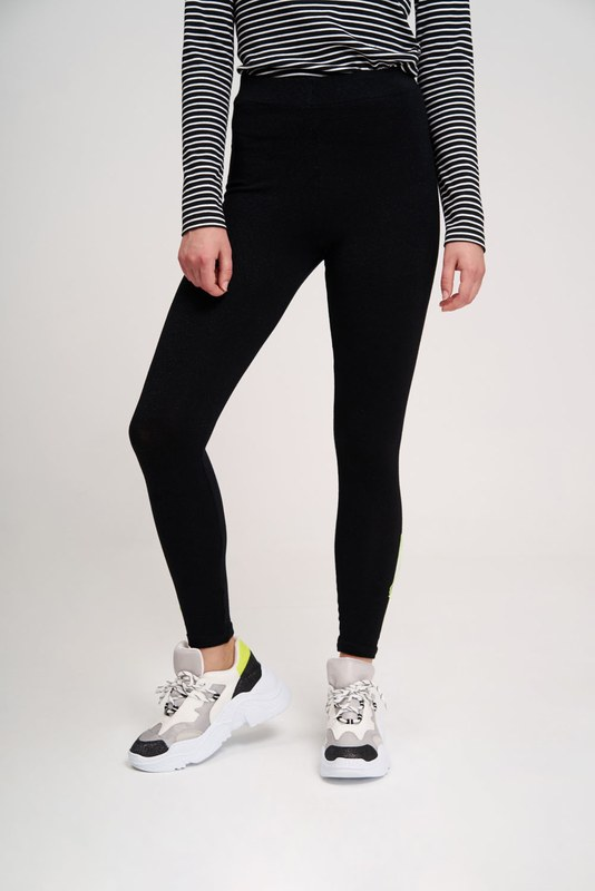 Stitched Detailed Leggings Pants (Black)