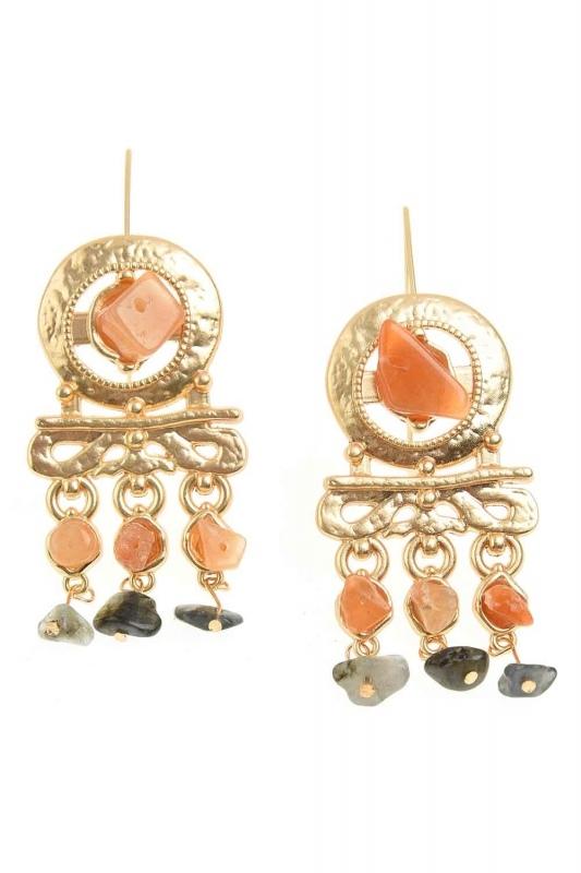 Stone Detailed Copper Earrings (St)