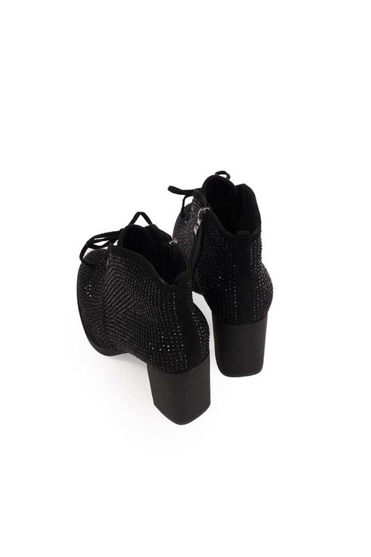 أحذية بكعب حجر مفصل (أسود)