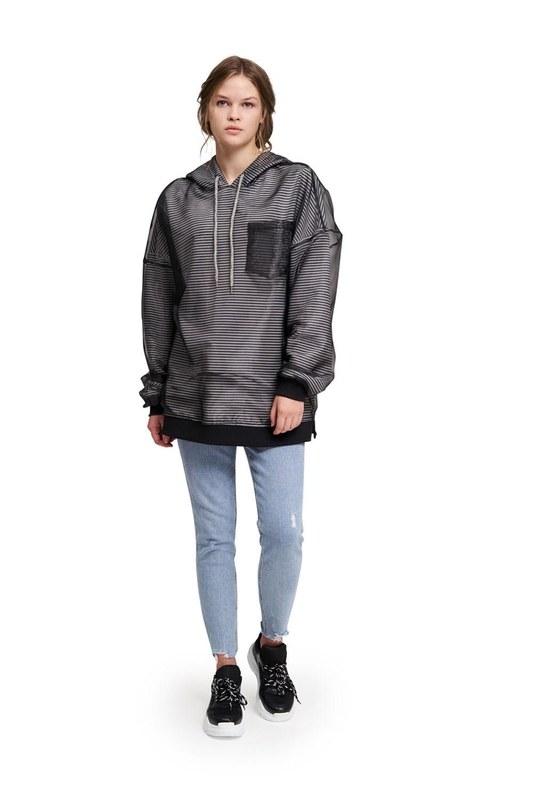 Stripe Organza Sweatshirt (Black)
