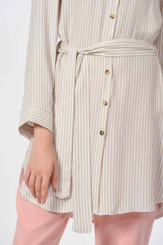 Striped Belted Tunic Shirt (Beige)