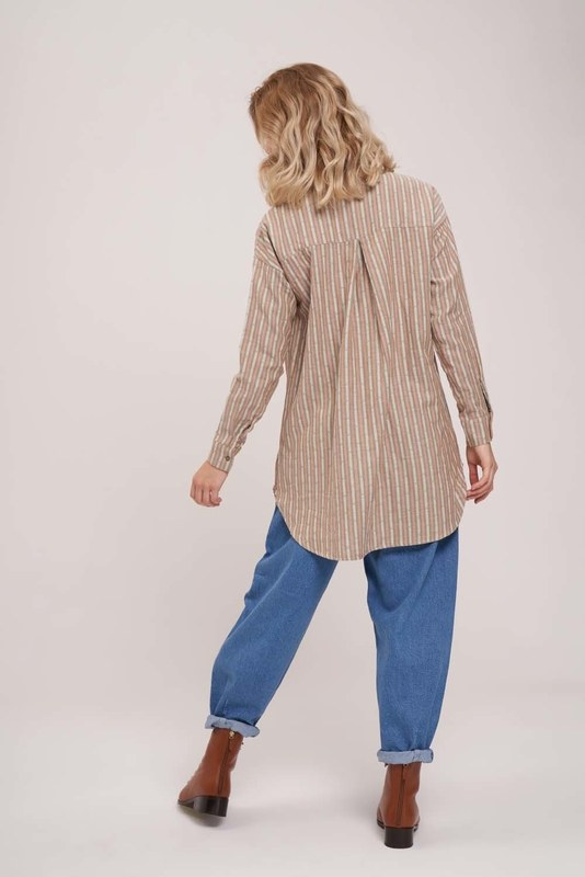 Striped Cotton Tunic Shirt (Khaki)