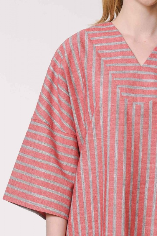 Striped Linen Textured Blouse (Orange-Red)