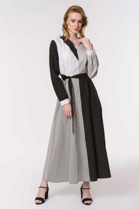 Striped Multi-Piece Dress (Black)