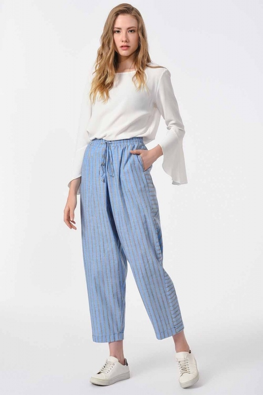 Striped Piece Trousers (Blue)