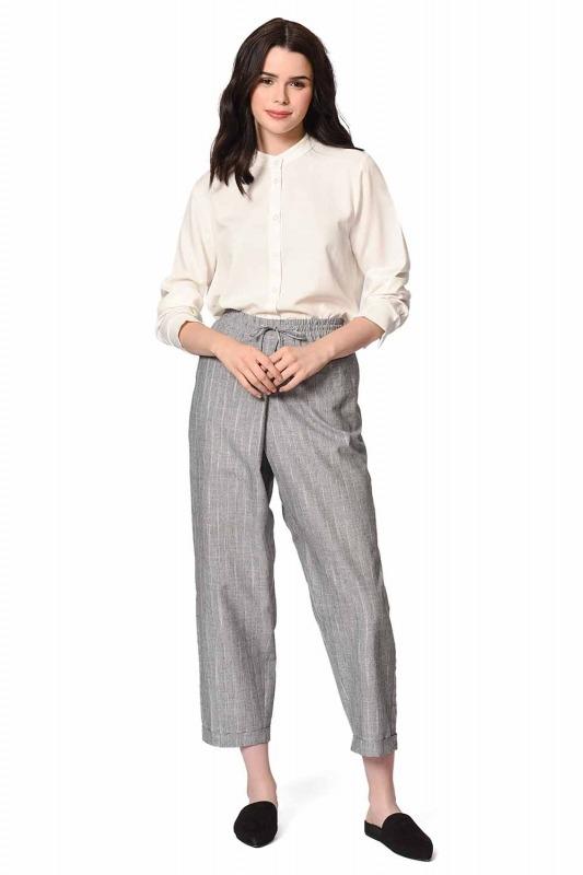 Striped Piece Trousers (Grey)