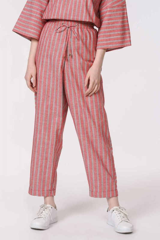 Striped Piece Trousers (Orange-Red)