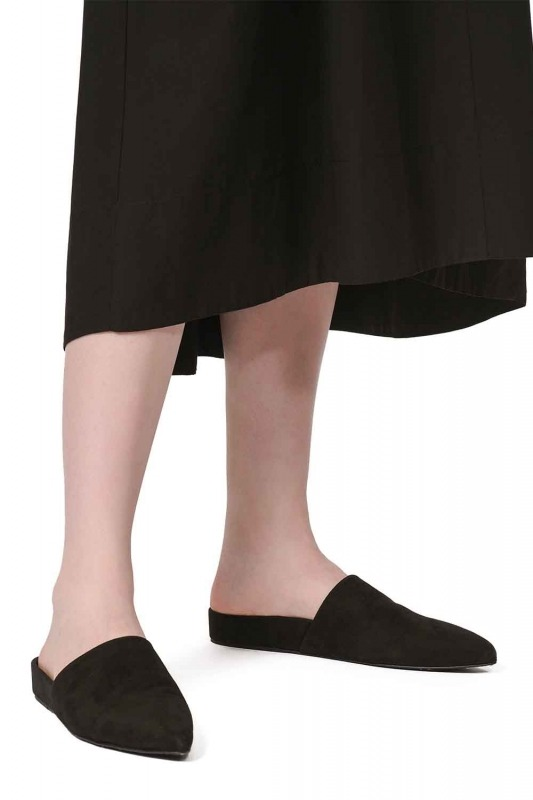 Suede Premium Leather Slippers (Black)