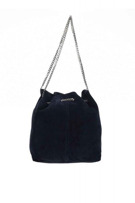 Suede Shoulder Bag (Navy Blue)