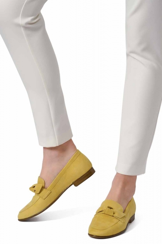 Suede Bow Leather Moccasins (Yellow)