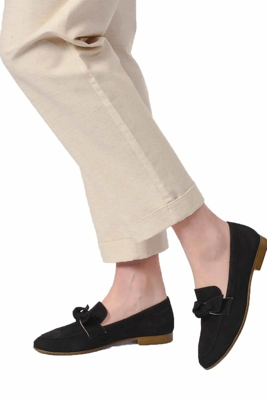 Suede Bow Leather Moccasins (Black)