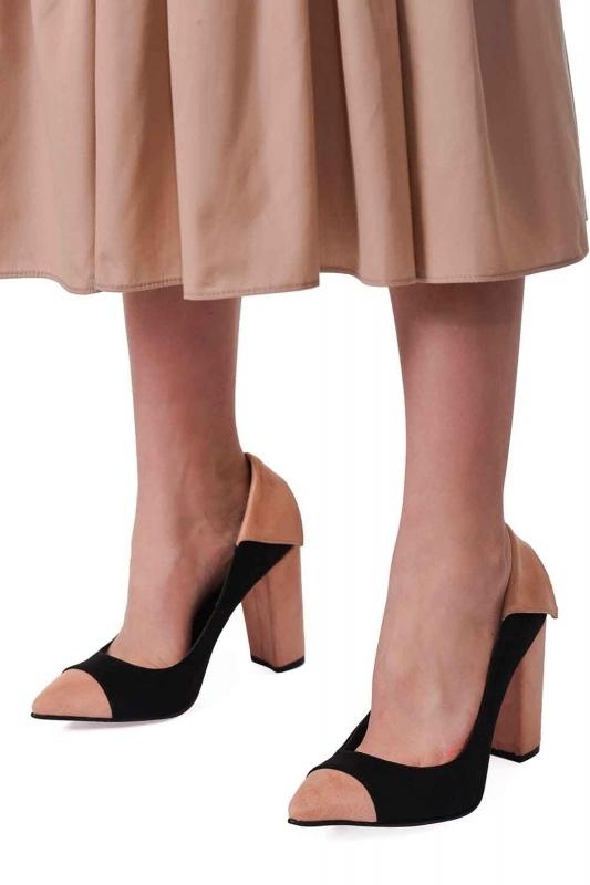Süet Kalın Topuk Ayakkabı (Siyah/Pudra)