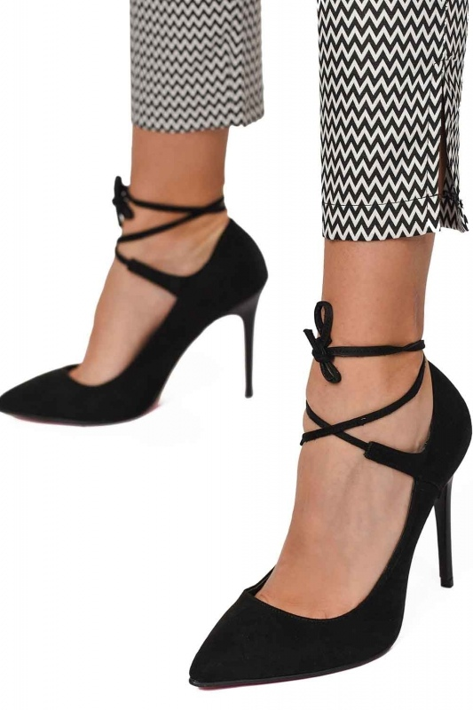 Suede Pointed Toe Shoes (Black)