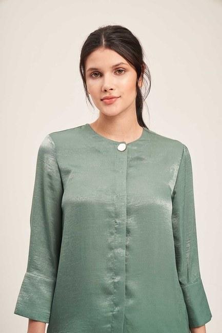 Süs Düğmeli Bluz (Yeşil) - Thumbnail
