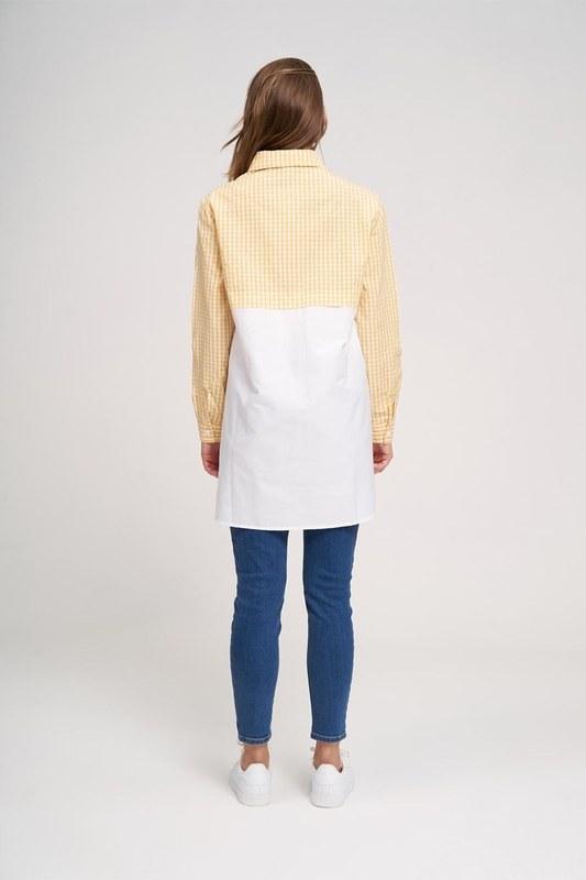 Süs Fermuarlı Tunik Gömlek (Sarı)