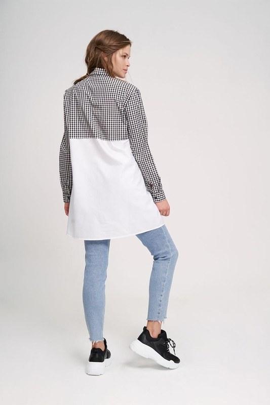 قميص سترة الرمز البريدي الزينة (أسود / أبيض)