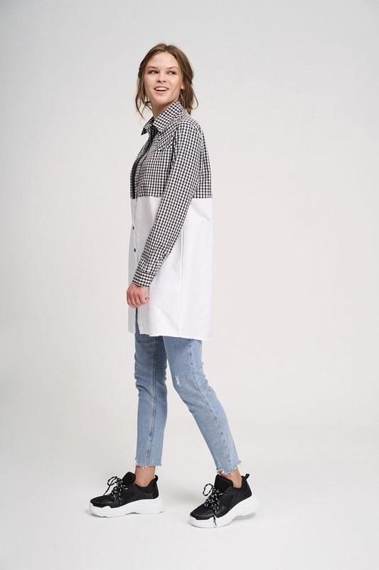 Süs Fermuarlı Tunik Gömlek (Siyah/Beyaz)