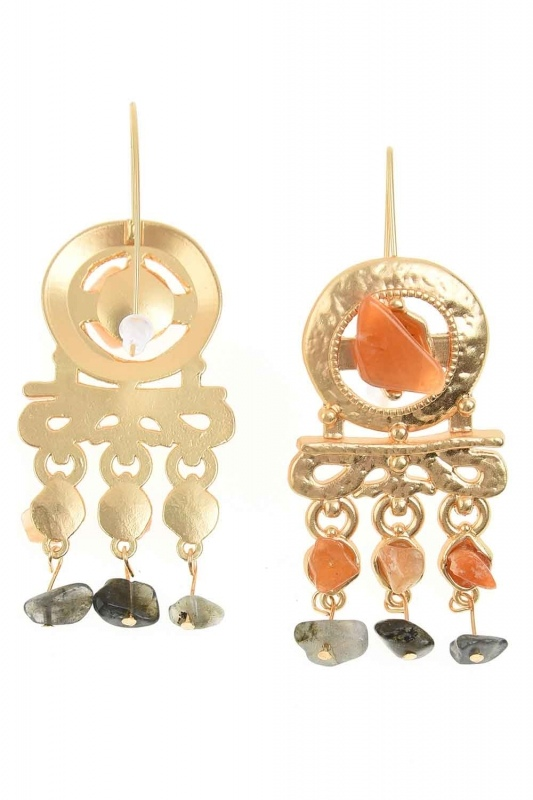 Stone Detailed Copper Earrings (St)