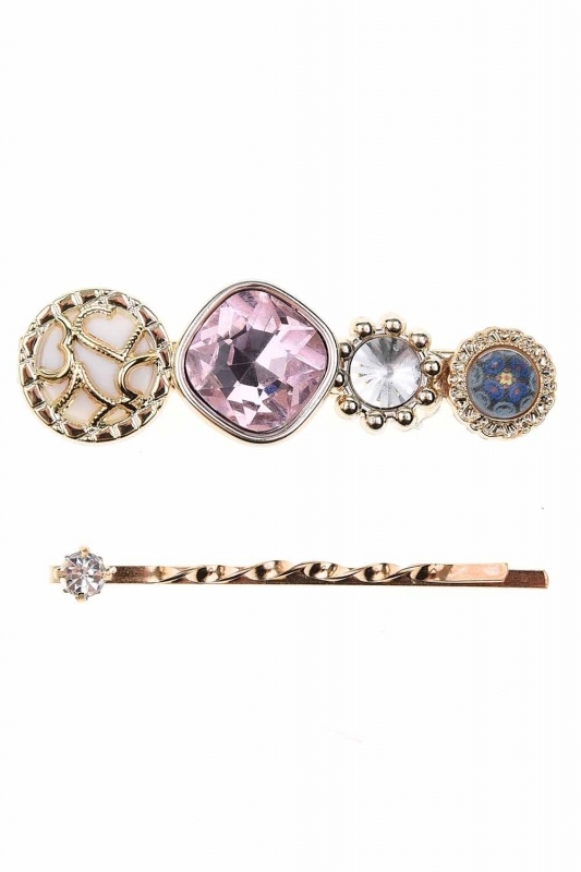 Stone Detailed Hair Clips (Pink)
