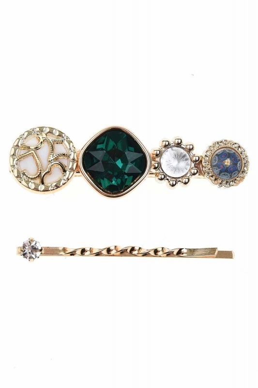 Stone Detailed Hair Clips (Green)