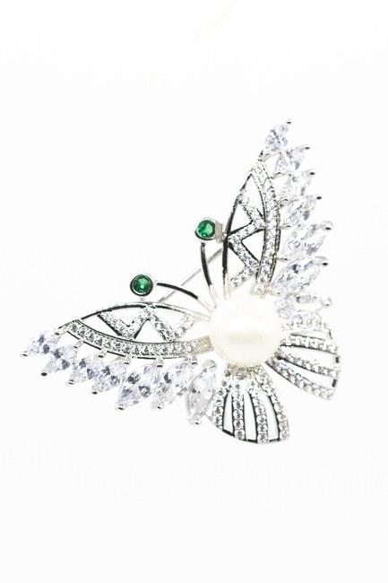 Taşlı Çiçek Broş (Gri) - Thumbnail