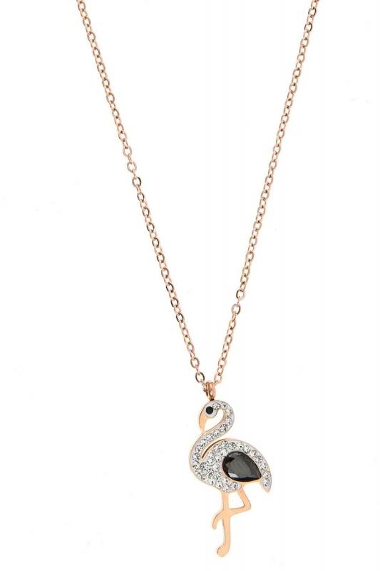 Taşlı Pelikan Çelik Kolye (St)