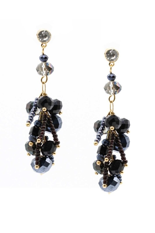 Earrings With Stones Swinging (Dark Blue)