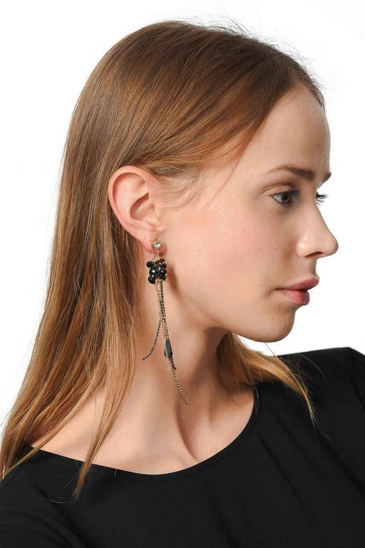 Swinging Earring With Stones (Black)