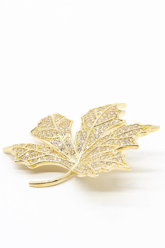 Taşlı Yaprak Broş (Sarı)