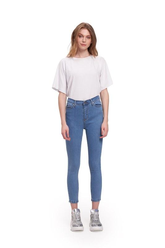 Tencel Likralı Dar Paça Pantolon (Mavi)