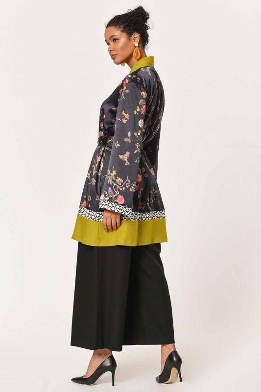 Three-Piece Patterned Kimono (Black/Green)