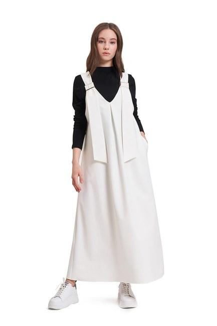 Tokalı Jile Elbise (Ekru) - Thumbnail