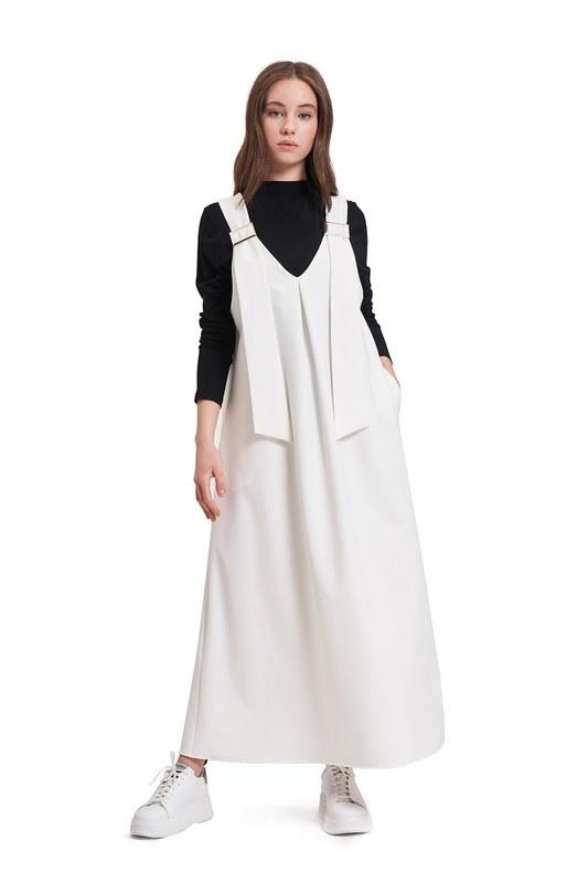 Tokalı Jile Elbise (Ekru)