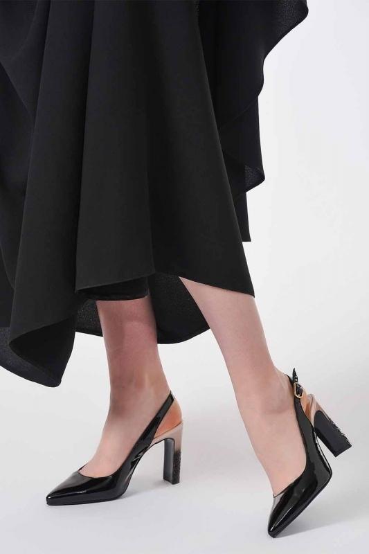 Topuklu Rugan Ayakkabı (Siyah/Pudra)