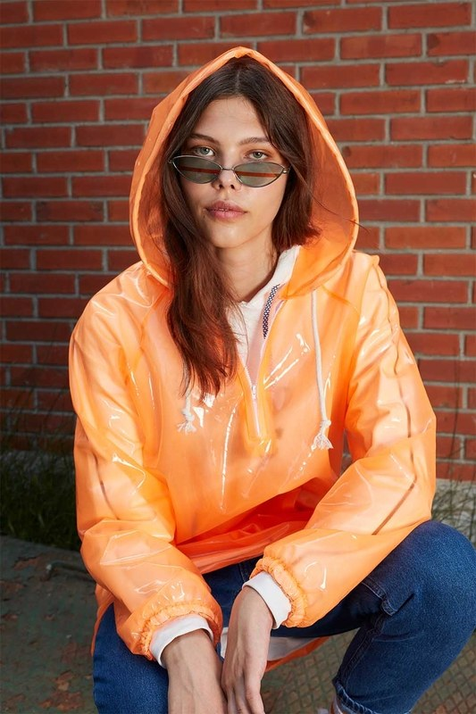 Transparent Raincoat (Orange)