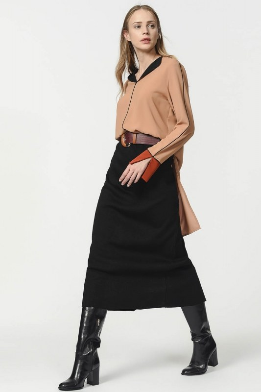 Tricot Pencil Skirt (Black)