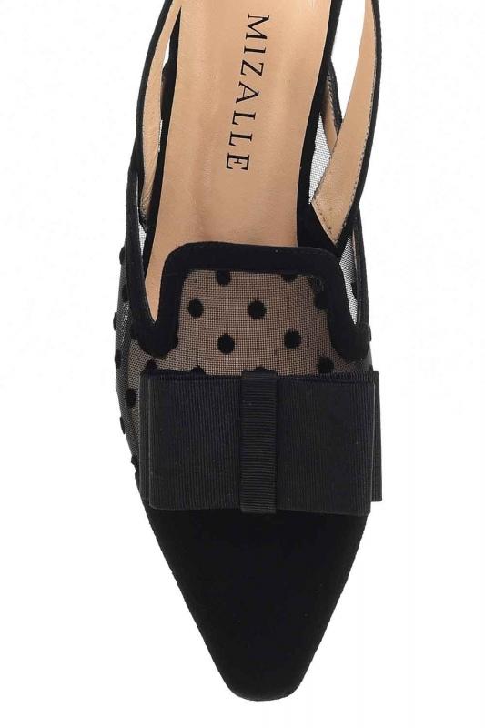 Tül Detaylı Süet Deri Ayakkabı (Siyah)