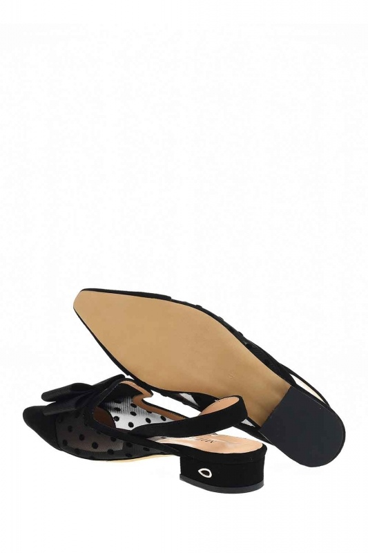 Tulle Detailed Suede Leather Shoes (Black)