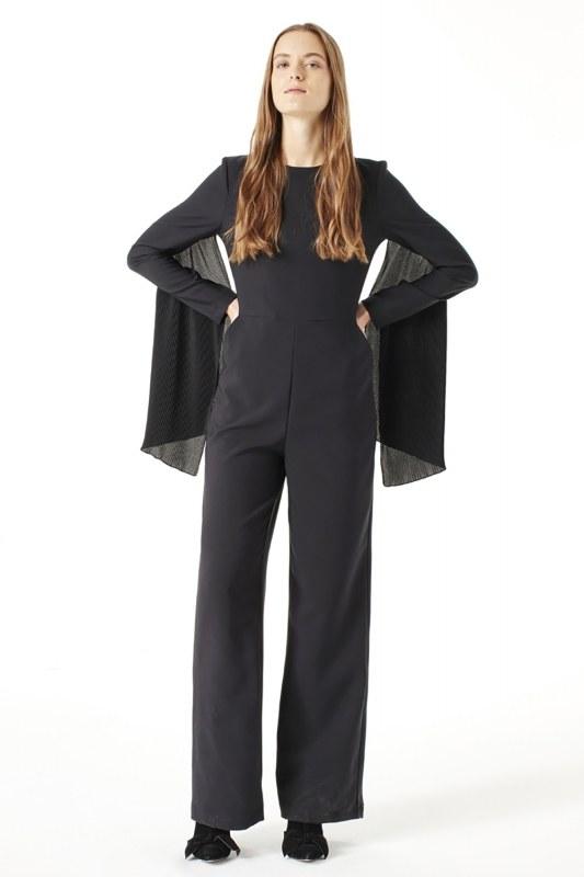 Pleat Sleeve Detailed Jumpsuit (Black)