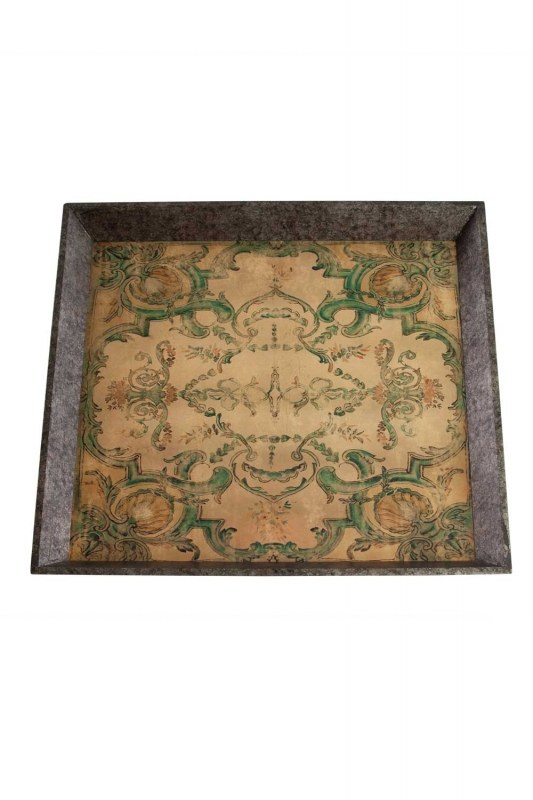 Turquoise Motive Wooden Tray