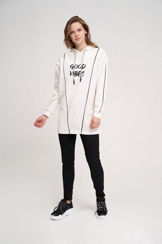 Two Striped Printed Sweatshirt (Ecru)