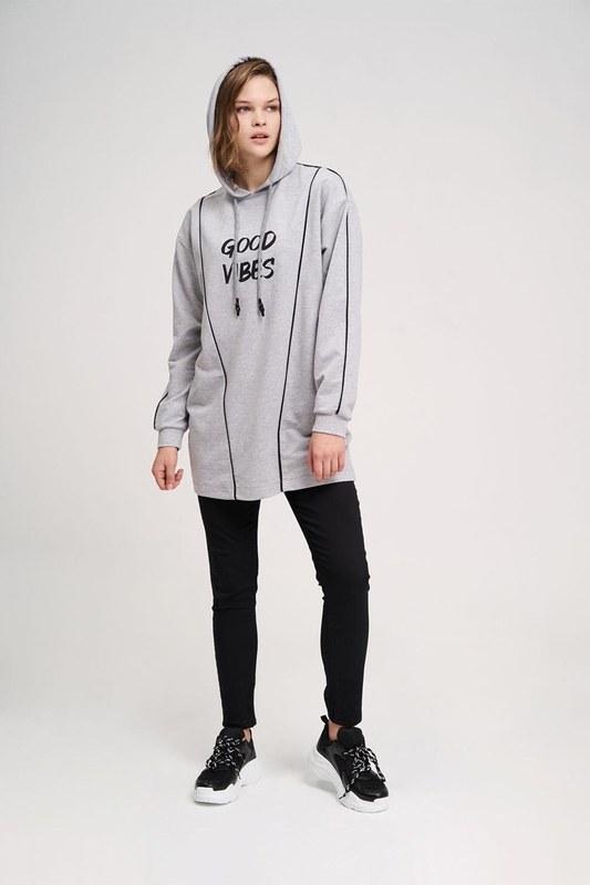 Two Striped Printed Sweatshirt (Melange)
