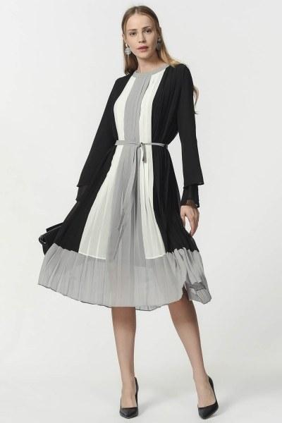 Üç Renkli Piliseli Elbise (Siyah) - Thumbnail